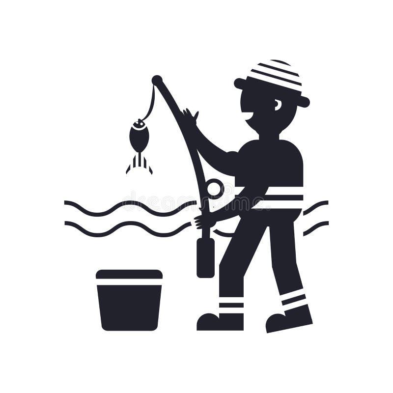 Fisher que pesca la muestra y el símbolo del vector del icono aislados en el fondo blanco, concepto del logotipo de la pesca de F stock de ilustración