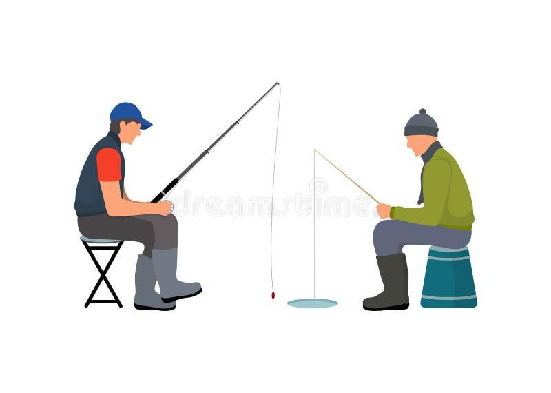 Fisher s'asseyant sur des tabourets dirigent l'illustration illustration stock
