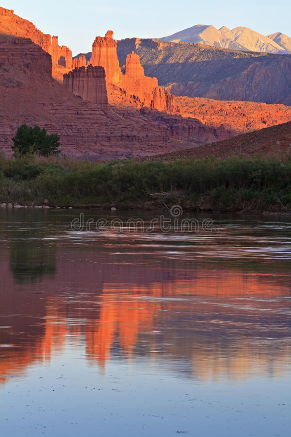 Fisher Towers and Colorado River royalty free stock photo