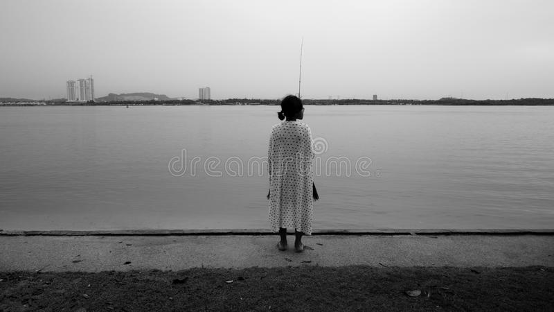Fishergirl royaltyfria bilder