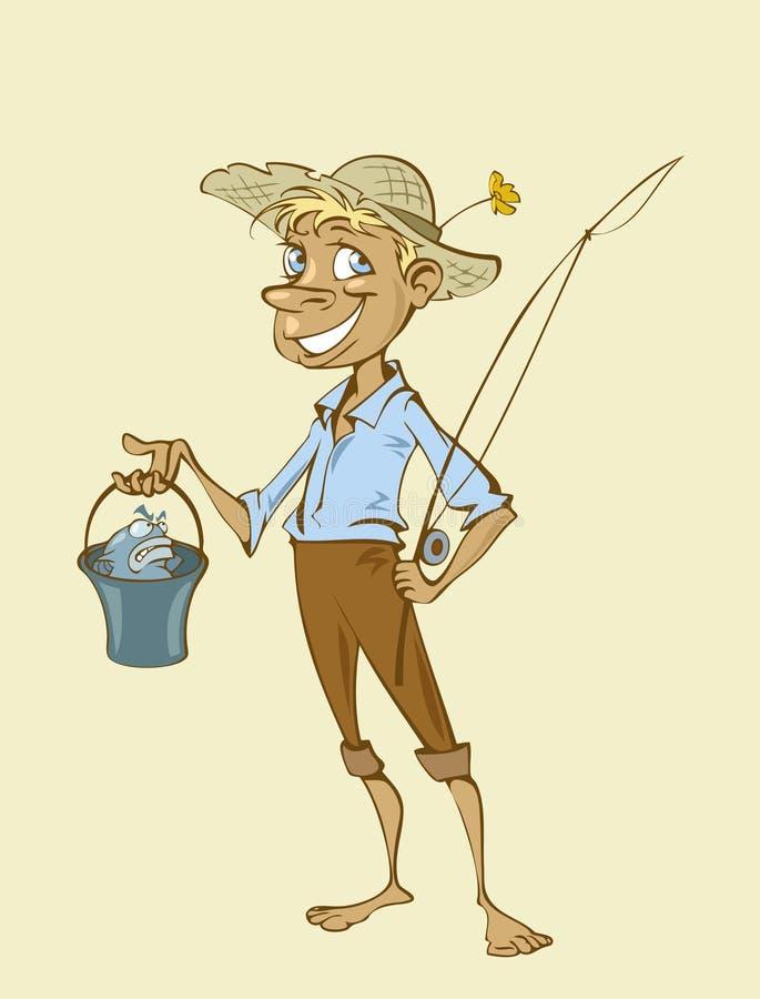 Fisherman. Illustration of a young cartoon fisherman royalty free illustration