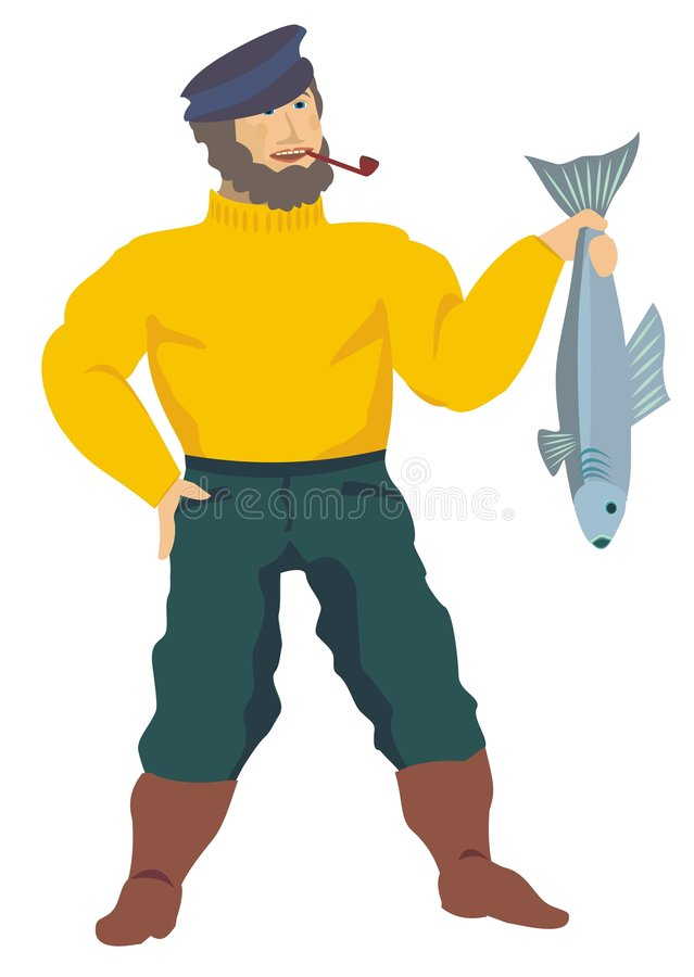 Fisherman. Presenting a good-sized fish of his last catch royalty free illustration