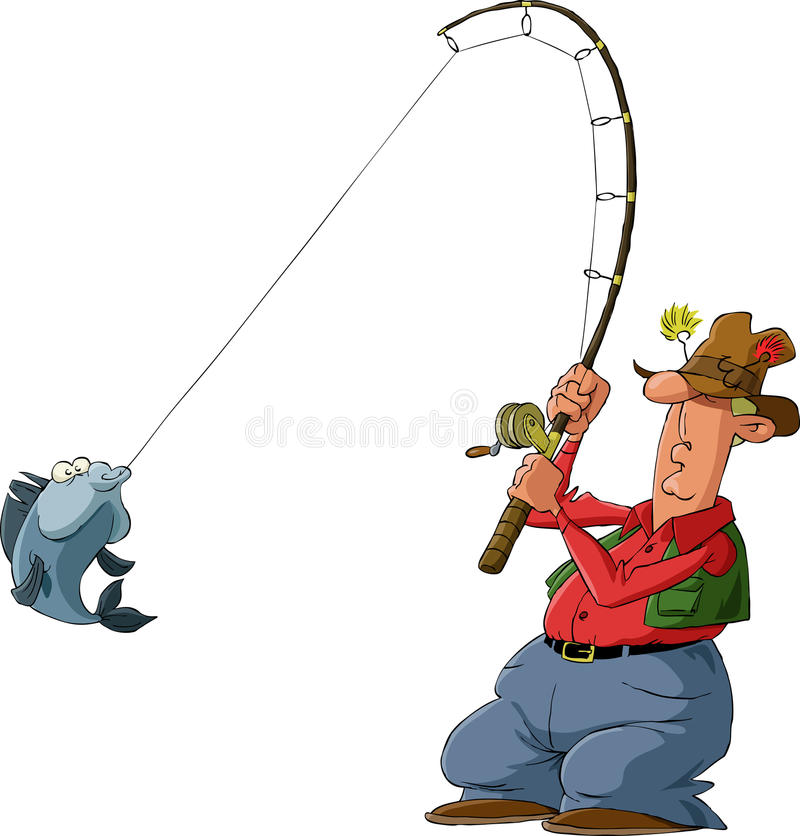 Fisherman. On a white background, vector vector illustration