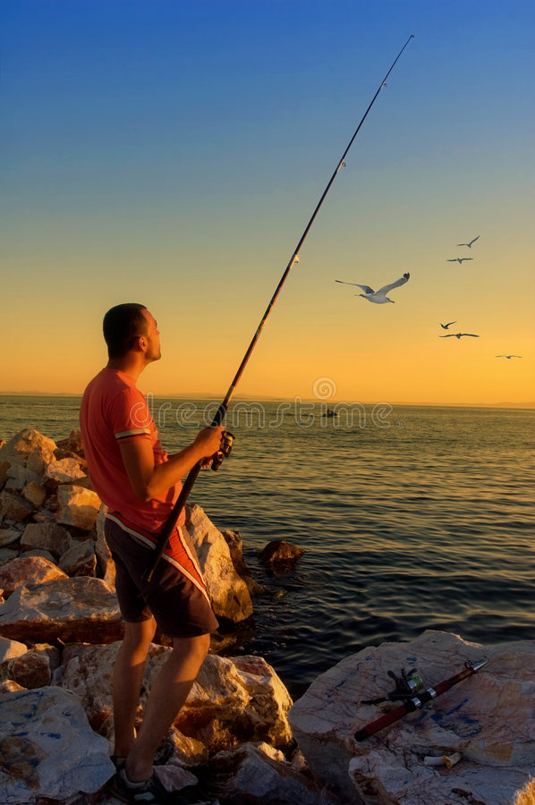 Download Fisherman stock image. Image of fishing, shore, seagull - 3539791