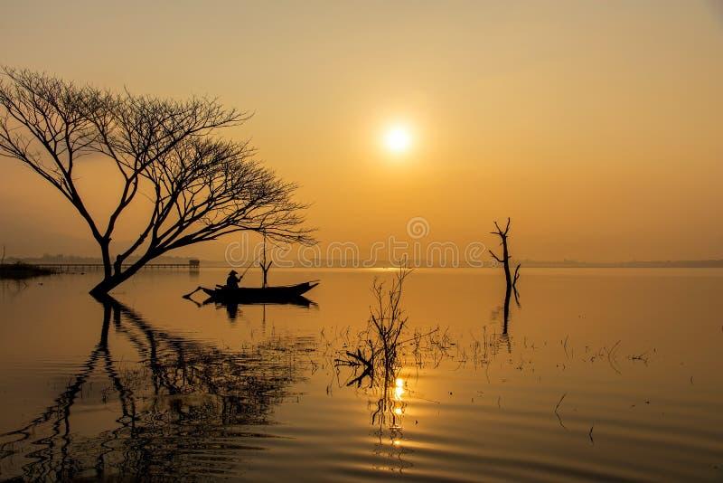 Fisherman action when fishing net on lake in the sunshine morning royalty free stock image