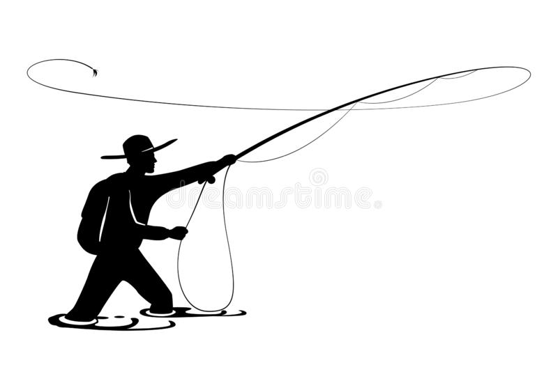 Fisherman in action. Guy is throwing spoon of fly rod in water and holding part of it in hand stock illustration