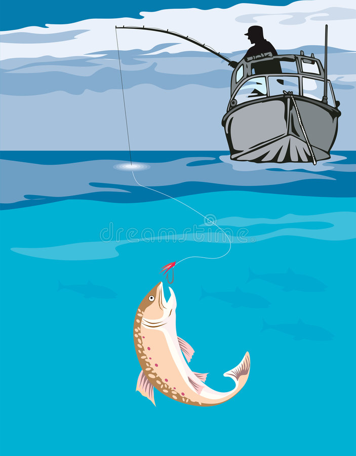 Fisherman angling a catch. Vector art on game fishing vector illustration