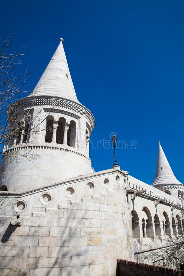 Fisherman Bastion a terrace located on the Buda bank of the Danube at the Castle hill stock photography