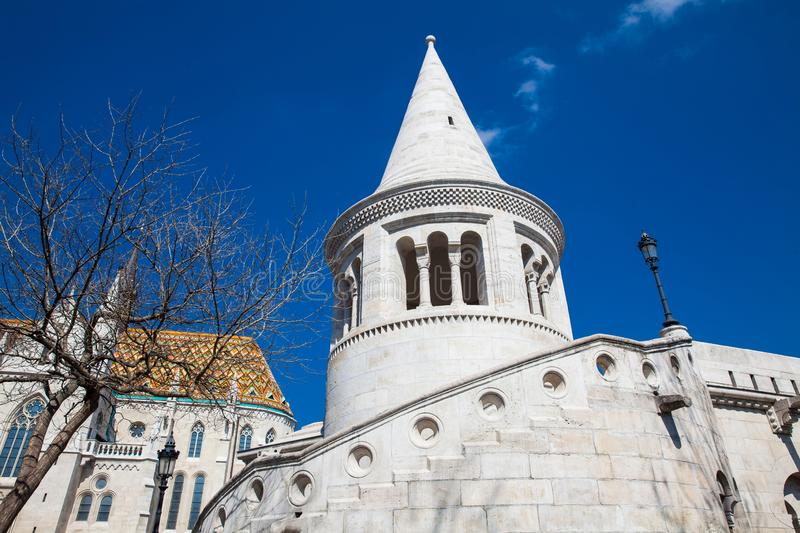 Fisherman Bastion a terrace located on the Buda bank of the Danube at the Castle hill stock image