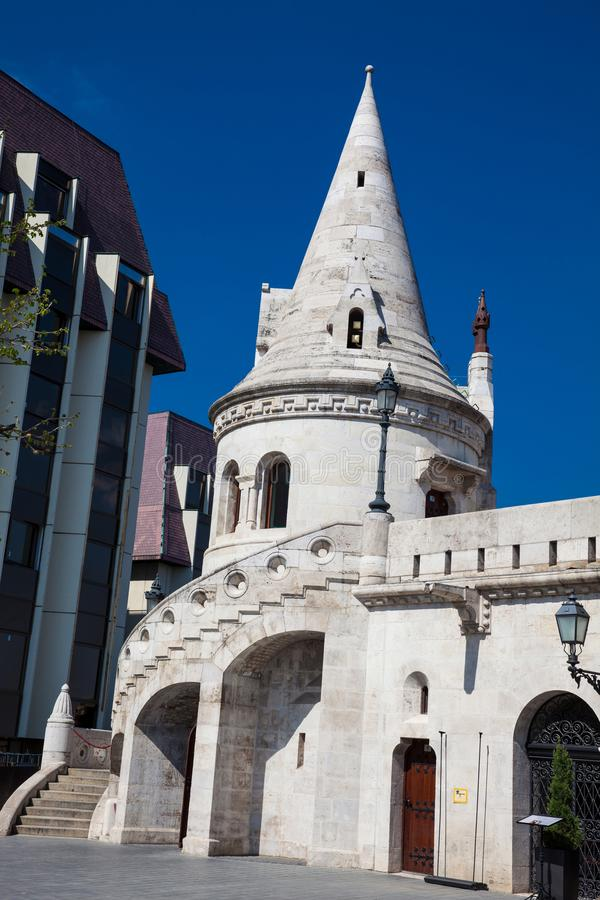 Fisherman Bastion a terrace located on the Buda bank of the Danube at the Castle hill royalty free stock photos