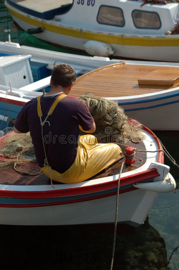 Fisherman boat stock image