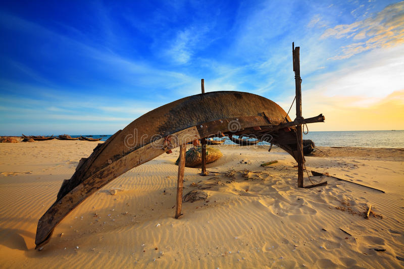 Download Fisherman boat stock image. Image of puddle, sunset, tropical - 10903733