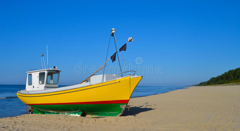 Download Fisherman boat stock photo. Image of stripes, beach, boat - 24547558