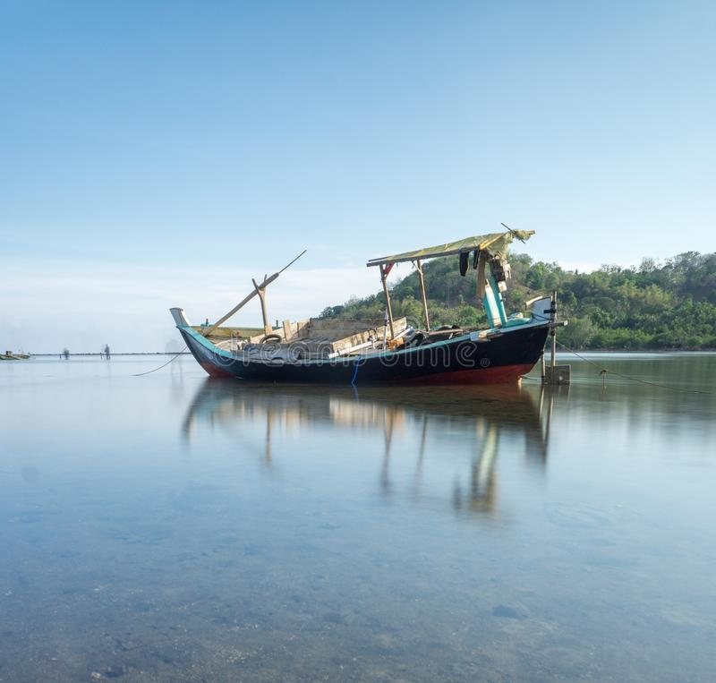 Fisherman Boat Bawean, Gresik, Indonesia. Unique Tree in Bawean Indonesia. This photo taken in Bawean Island, Gresik, East Java, Indonesia stock image