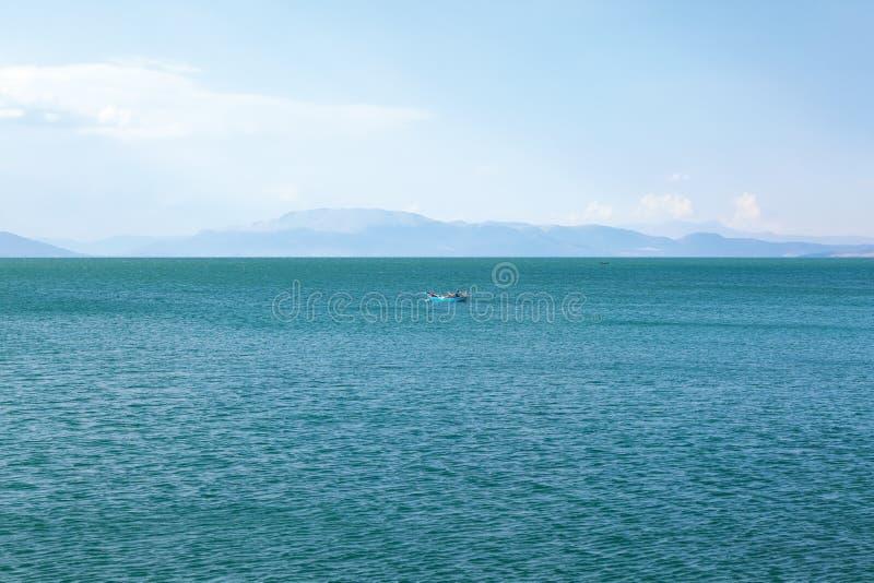 A fisherman boat on Lake Egirdir. stock photos