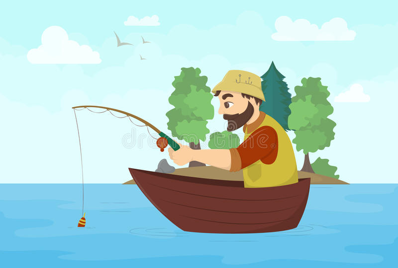 Fisherman on a boat. vector illustration