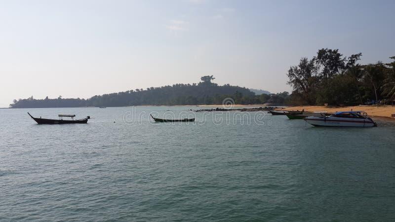Fisherman boat in the sea stock photo