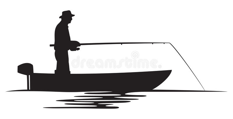 Fisherman in a boat silhouette royalty free illustration