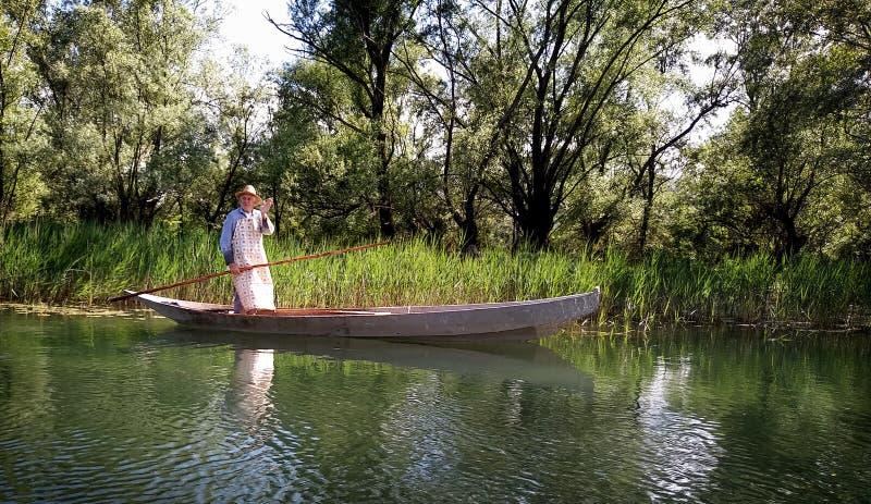 Fisherman boat on Skadar lake in Montenegro, Europe stock images