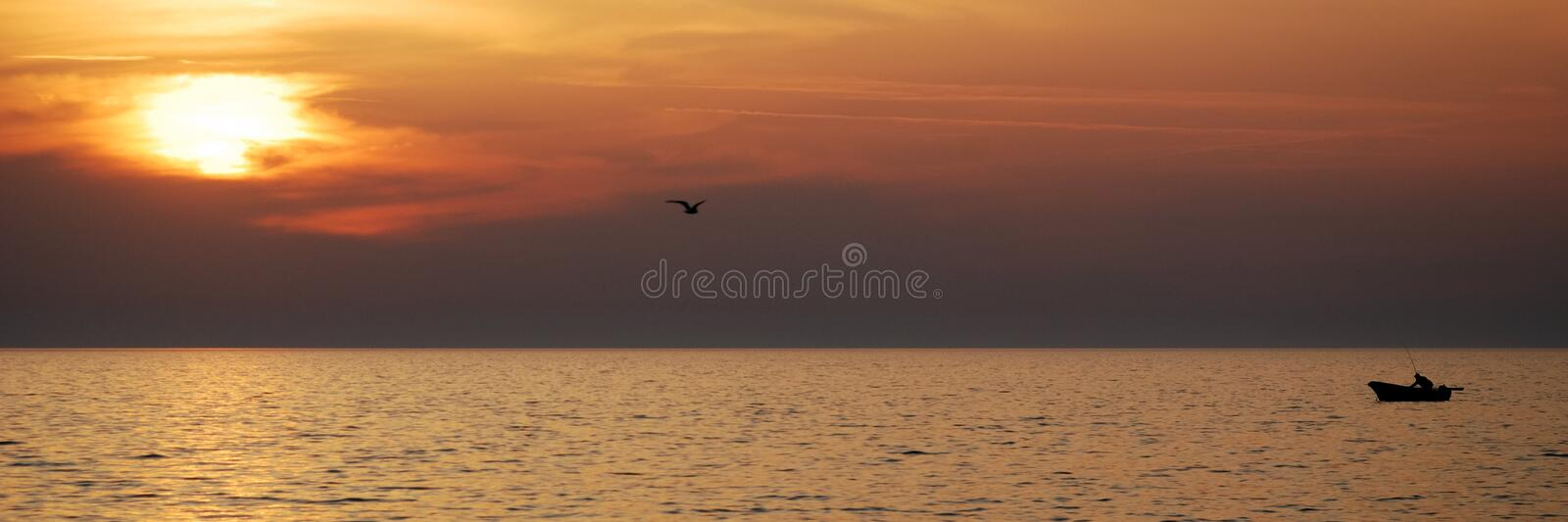 Fisherman boat sunset. Fisherman boat with inline seagull and sun during sunset - panoramic format 1:3 stock images