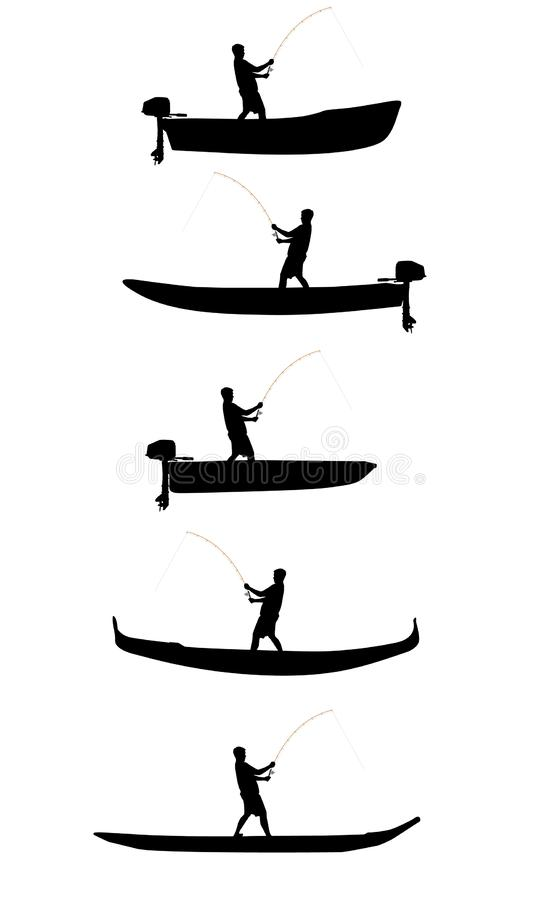 Fisherman on the boat vector silhouettes royalty free stock images