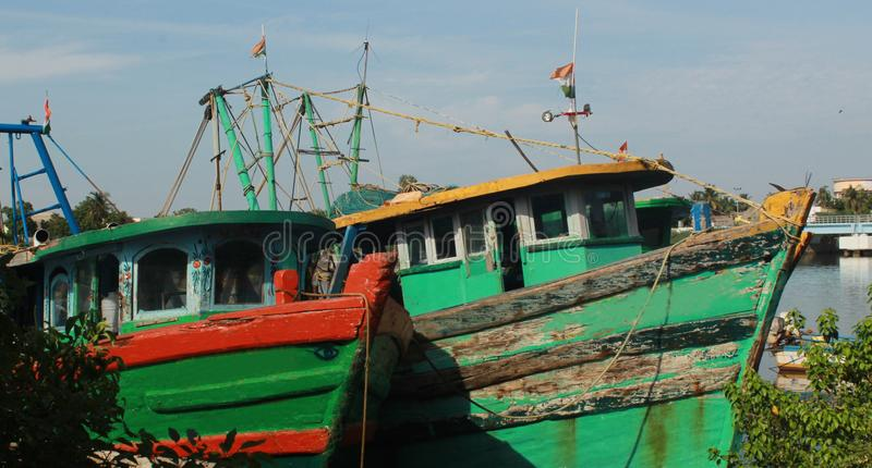 Fisherman boats on a indian small harbor. royalty free stock photos