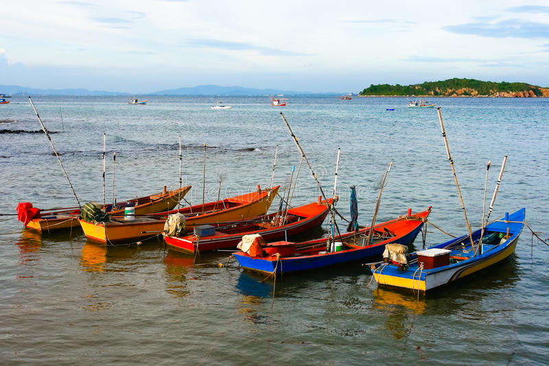 Fisherman boats ,at Ko Lan Thailand. Fisherman boats in late afternoon ,at Ko Lan Chonburi Thailand royalty free stock photography