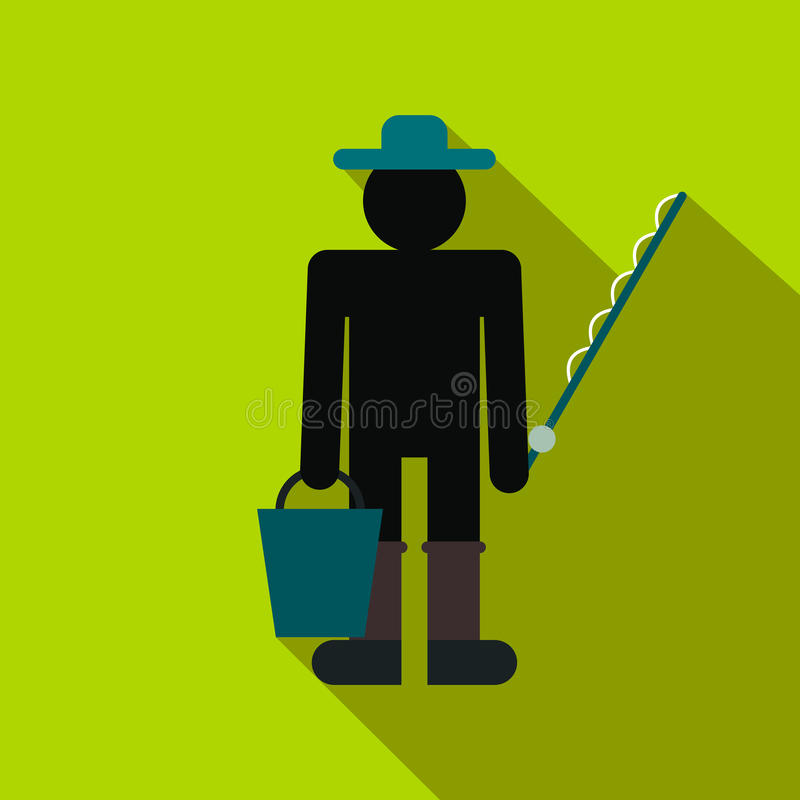 Fisherman with bucket and fishing rod flat icon vector illustration