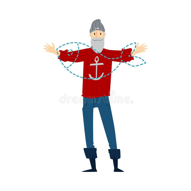 Fisherman imagining a future fish caught the flat vector illustration isolated. royalty free illustration