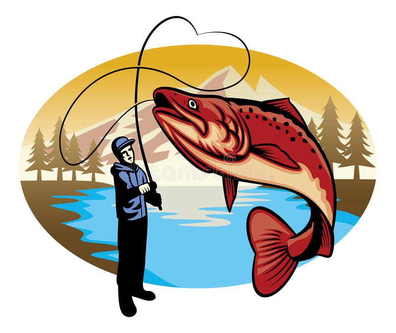 Fisherman catch the big fish. Vector of fisherman catch the big fish royalty free illustration