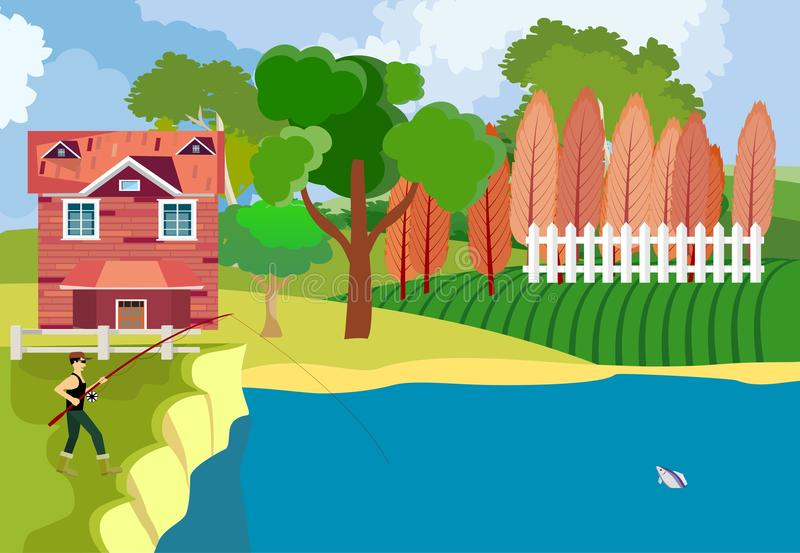 Fisherman catch the fish at the river, countryside,. Concept vector illustration royalty free illustration