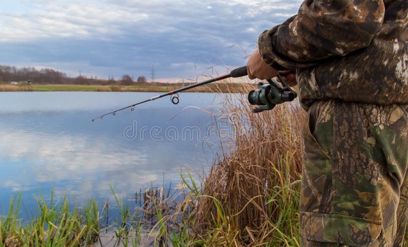 The fisherman catches fish on the bait in the pond stock photography