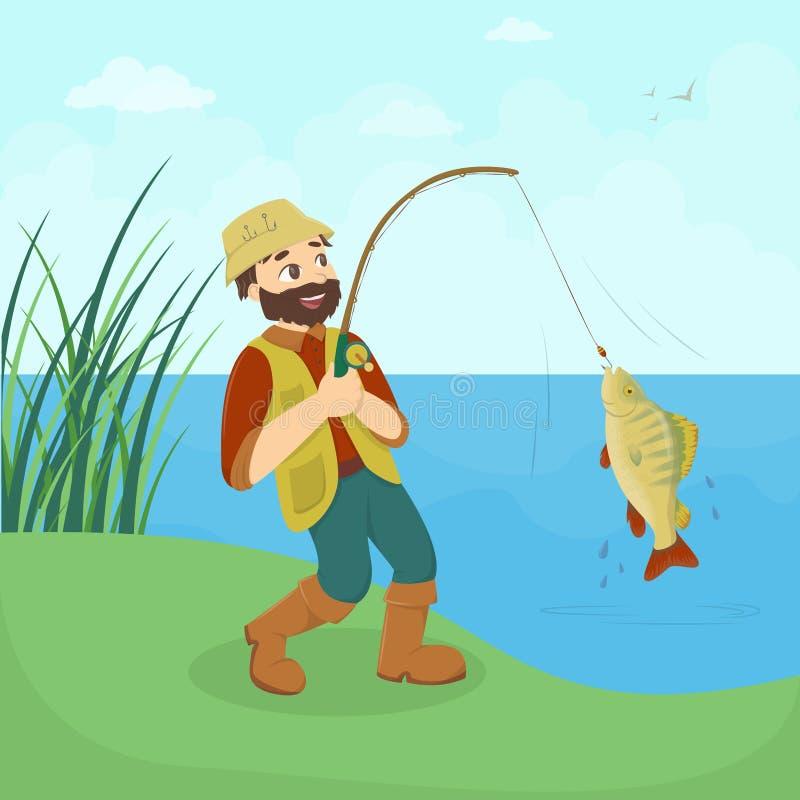Fisherman catches fish. vector illustration
