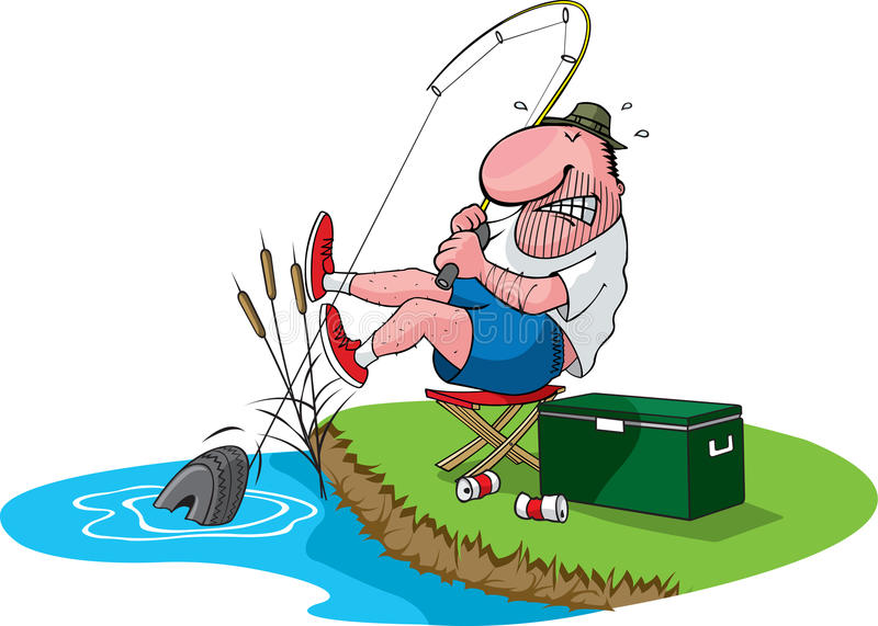 Fisherman catches Tire royalty free illustration