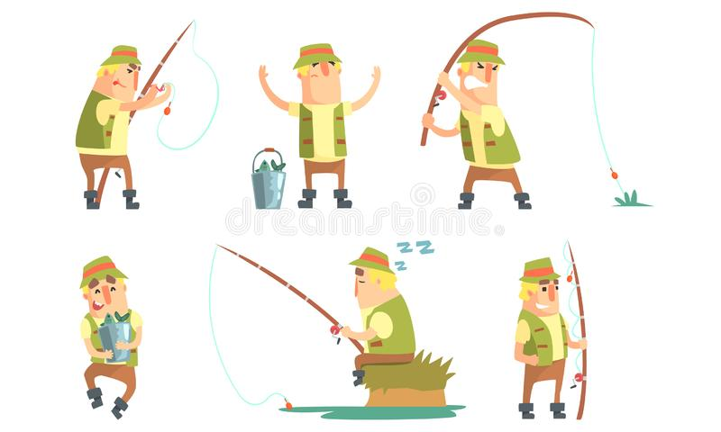 Fisherman Catching Fish with Fishing Rod Set, Funny Fisher Cartoon Character Having Active Leisure on Nature Vector. Illustration on White Background stock illustration