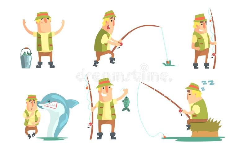 Fisherman Catching Fish with Fishing Rod Set, Funny Male Fisher Cartoon Character Having Active Leisure on Nature Vector. Illustration on White Background stock illustration