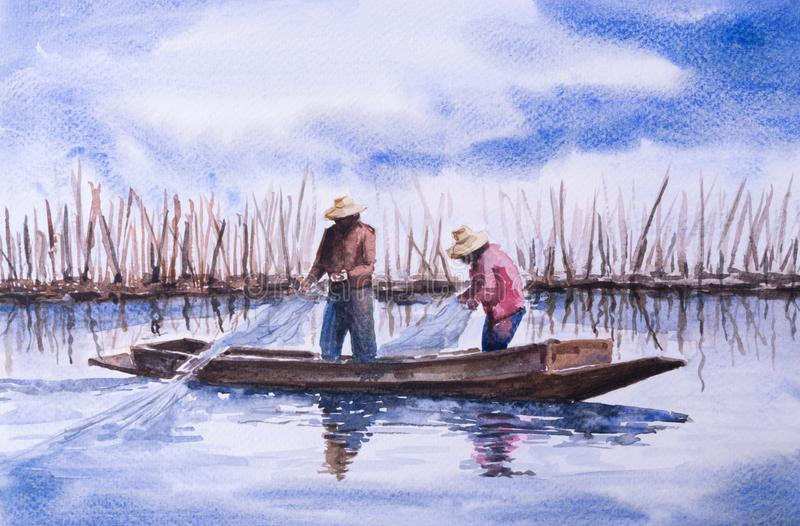 The fisherman catching the fish in watercolor painting royalty free illustration