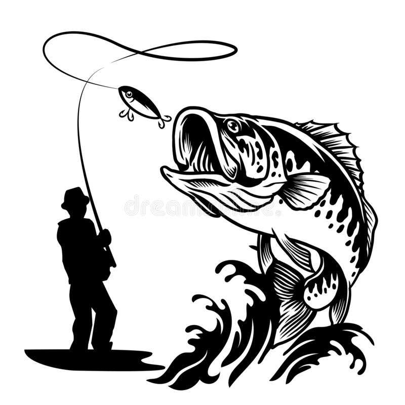Free Fisherman Catching The Big Bass Fish In Black And White Style Royalty Free Stock Image - 178296846