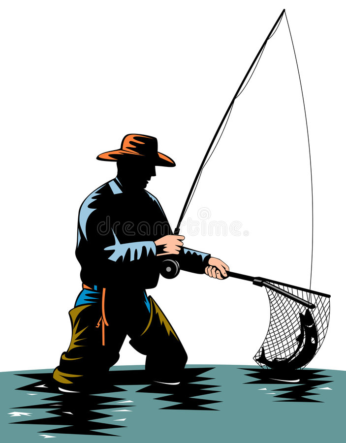 Download Fisherman catching a trout stock illustration. Image of fisherman - 6139553