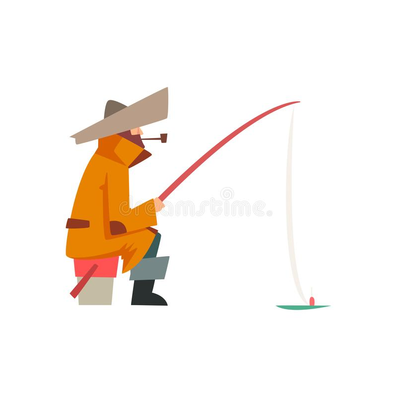 Fisherman Character Wearing Warm Clothing Sitting on Bucket with Fishing Rod Vector Illustration royalty free illustration