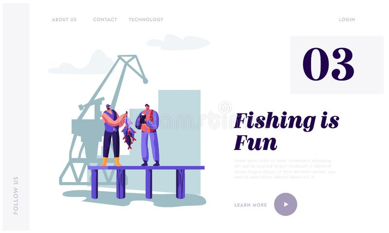 Fisherman Demonstrating Fish Haul to Customer on Pier. Buyer Watching Fishery Catch in Dock Writing Notes. Fishery Industry. Website Landing Page, Web Page stock illustration