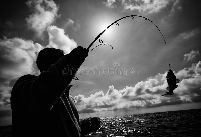 Download Fisherman And Fish Hooked Royalty Free Stock Photo - Image: 6146885