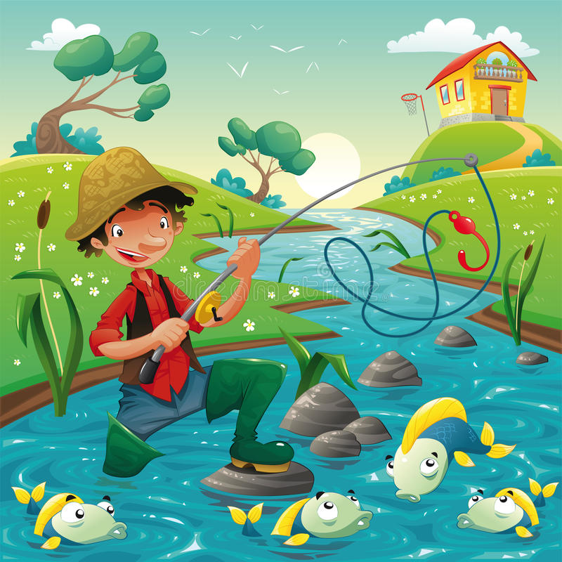 Fisherman and fish in the river. Funny cartoon and scene, isolated objects vector illustration