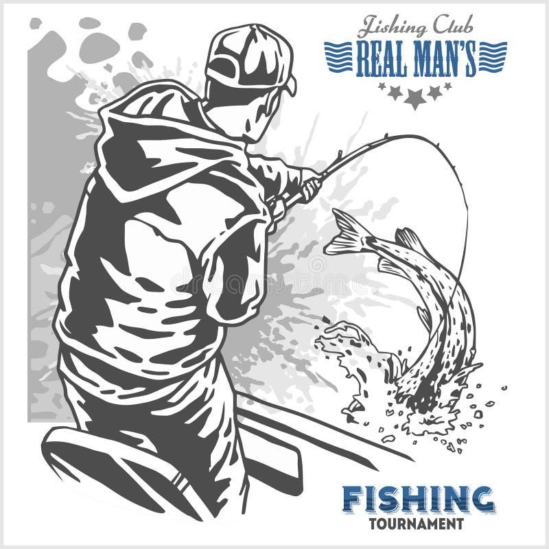 Fisherman and fish - vintage illustration plus retro emblem stock illustration