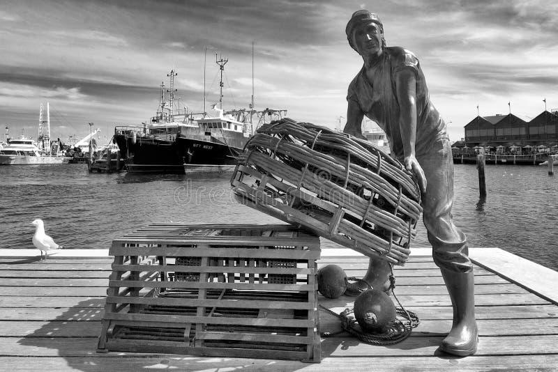 Fisherman, Fishing Harbour, Fremantle, Australia stock photo