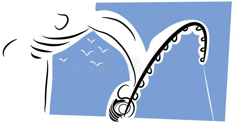 Download Fisherman with fishing rod stock vector. Illustration of blue - 116499785