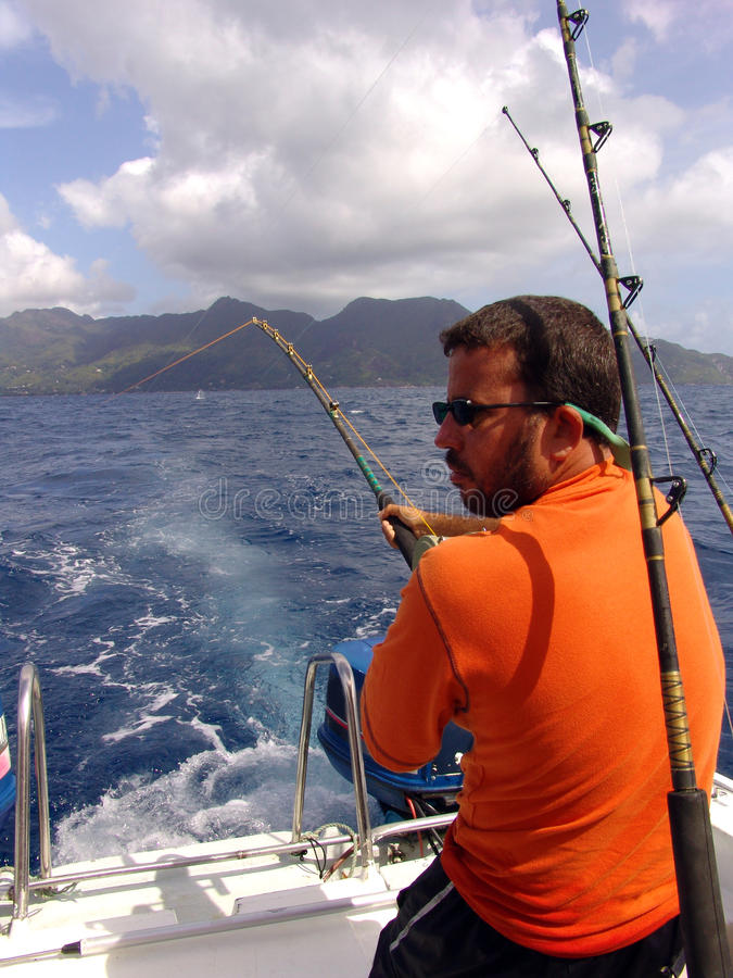 Free Fisherman Fishing On Boat In Ocean On Seychelles Stock Photo - 10792800