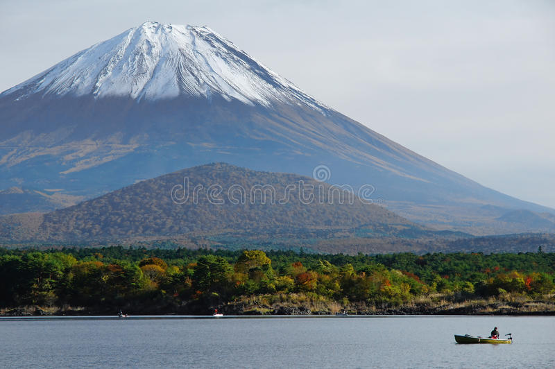 Fisherman 5. This is a fisherman and Fuji mountain at Shoji lake royalty free stock image