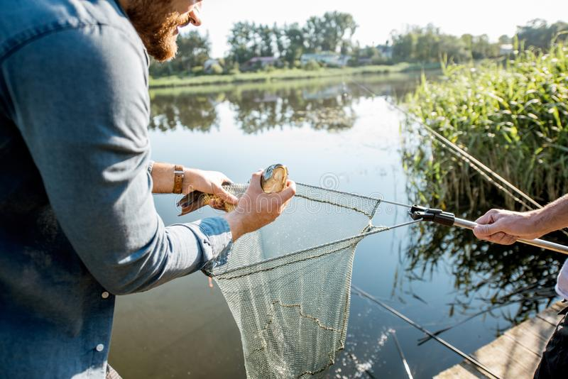 Fisherman getting fish from the net. Fisherman getting caught fish from the fishing net near the lake in the morning stock photos