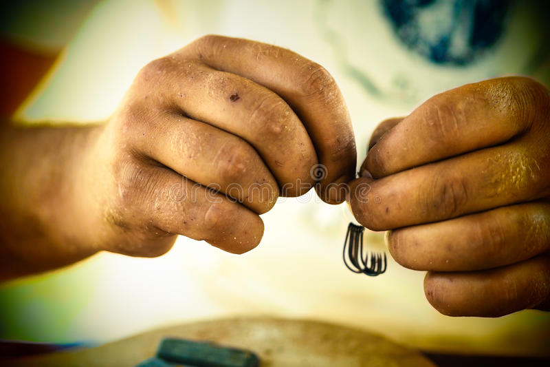 Fisherman hands stock image